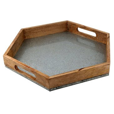 Thirstystone Mango Wood And Galvanized Hexagon Tray