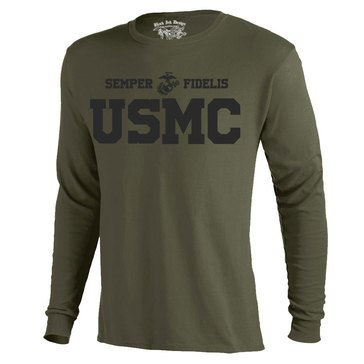 Black Ink Men's USMC Semper Fidelis Classic Long Sleeve Tee