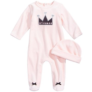 First Impressions Baby Girls' Velour Princess Coveralls