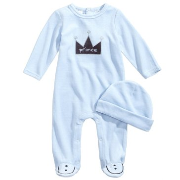 First Impressions Baby Boys' Velour Prince Coveralls