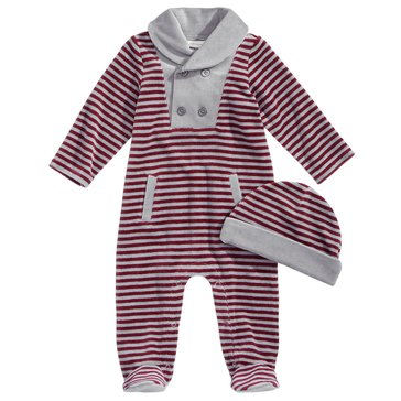 First Impressions Baby Boys' Velour Striped Coveralls