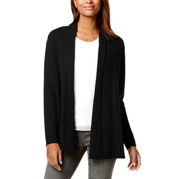 Charter Club Cashmere Long Sleeve Variegated Rib Duster in Classic Black
