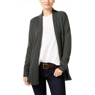 Charter Club Cashmere Long Sleeve Variegated Rib Duster in Heather Cinder
