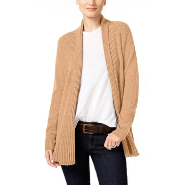 Charter Club Cashmere Long Sleeve Variegated Rib Duster in Heather Camel