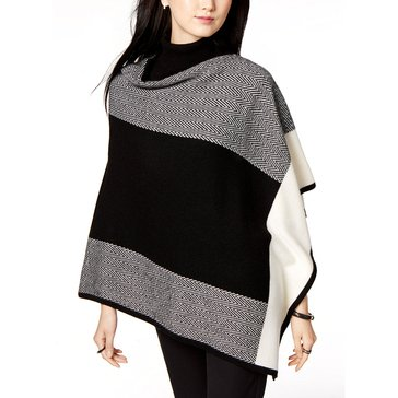 Charter Club Cashmere Chevron Colorblock Poncho Sweater