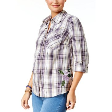Style & Co Women's Tahoe Plaid Hi Lo Shirt in Tahoe Grape