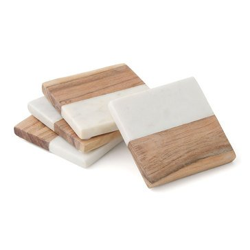 Thirstystone White Marble And Wood Coasters, Set of 4