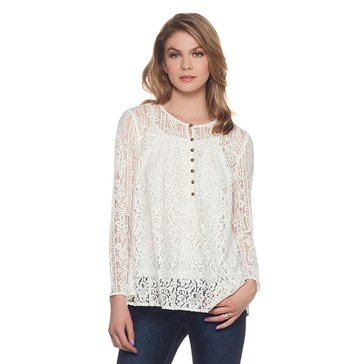 Skye's The Limit Mix Lace Button Front Blouse in Egret