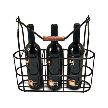 True Brand Twine Vintage 3-Bottle Wine Carrier