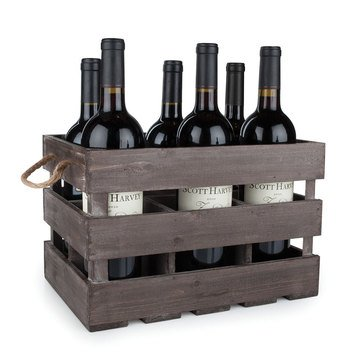 True Brand Twine Wooden 6-Bottle Wine Crate
