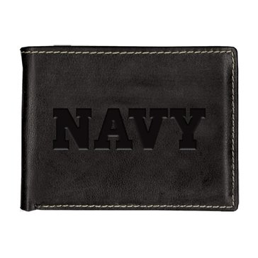 Carolina Sewn Navy Leather Contrast Stitch Billfold Wallet - Black Onyx