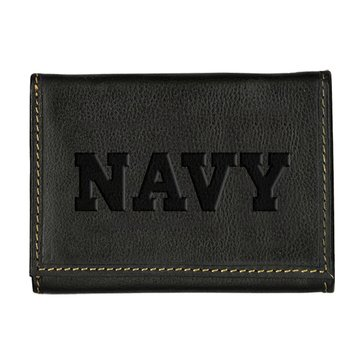 Carolina Sewn Navy Leather Contrast Stitch Tri-Fold Wallet - Black Onyx