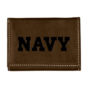 Carolina Sewn Navy Leather Contrast Stitch Tri-Fold Wallet - Coffee Brown