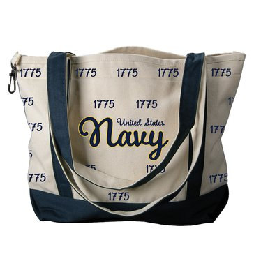 Carolina Sewn United States Navy Canvas Medium Tote With 1775 Repeat Pattern - Navy