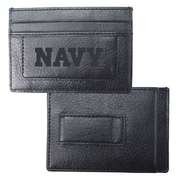 Carolina Sewn Navy Leather Westbridge Clip Card Holder - Black