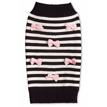Black Striped Pink Multi Bow Sweater, X-Small