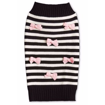 Black Striped Pink Multi Bow Sweater, Small