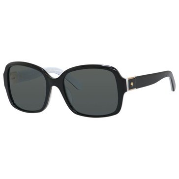 Kate Spade Women's Annora Polarized Sunglasses, Black and White Frame 54mm