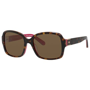 Kate Spade Women's Annora Polarized Sunglasses, Havana Pink 54mm