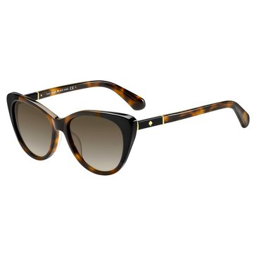 Kate Spade Women's Sherylyn Sunglasses, Havana Black/ Brown Gradient 54mm