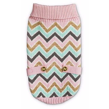 Pink Mint Multi Chevron Button Tab Sweater, Small