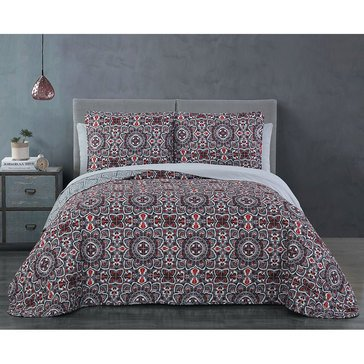 Ibiza 7-Piece Quilt Set, Burgundy - Full/Queen