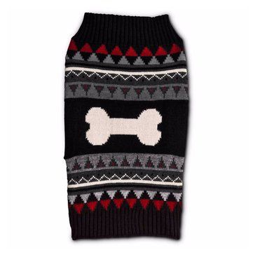Black Red Bone Fair Isle Sweater, XX-Small