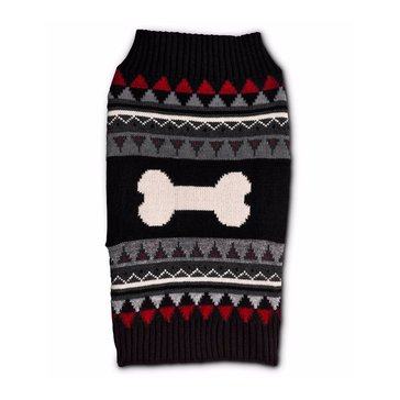 Black Red Bone Fair Isle Sweater, X-Small
