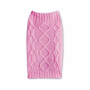 Pink Mixed Knit Bone Cable Sweater, XX-Small