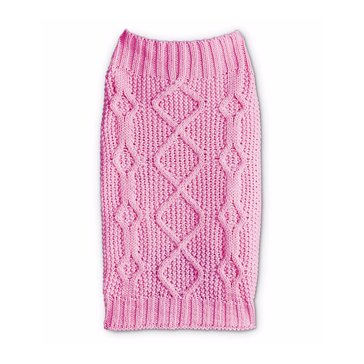 Pink Mixed Knit Bone Cable Sweater, X-Small