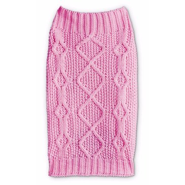Pink Mixed Knit Bone Cable Sweater, Small