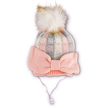 Pink Plaid Knit Oversized Bow Beanie, Small/Medium