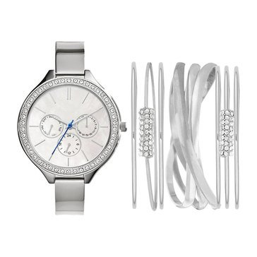 Jessica Carlyle Women's Stackable Silver Tone Watch Set, 41mm