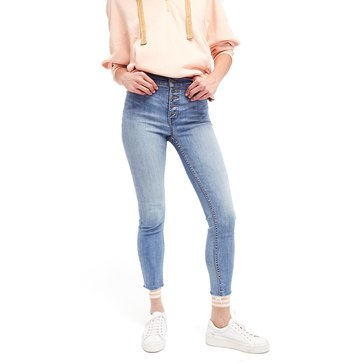 Free People Reagan Raw Edge Denim Jean in Sky Wash