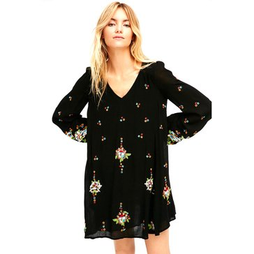 Free People Embroidered Mini Dress in Black Comb
