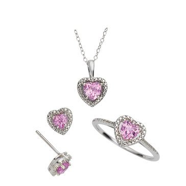 Pink Sapphire and Diamond 3-Piece Jewelry Set, Sterling Silver