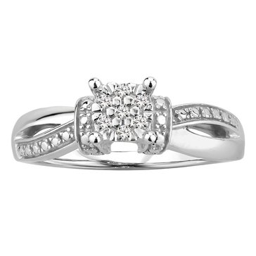 Diamond Cluster Promise Ring, Sterling Silver
