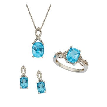 Blue and White Topaz 3-Piece Set, Sterling Silver