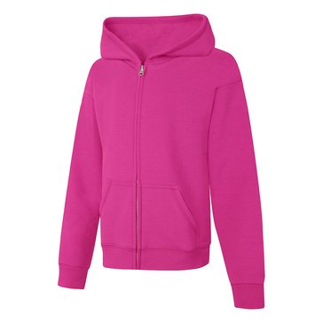 Hanes Big Girls' Fleece Zip Hoodie, Amaryth Small