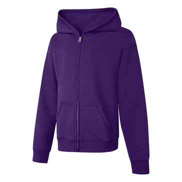 Hanes Big Girls' Fleece Zip Hoodie, Purple Small