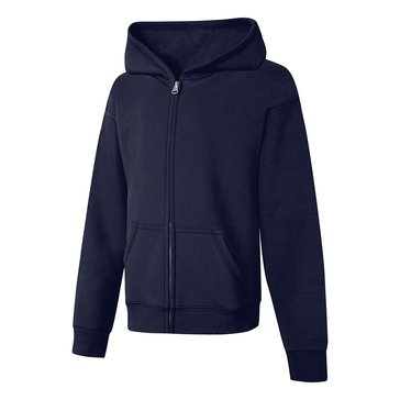 Hanes Big Girls' Fleece Zip Hoodie, Navy Medium