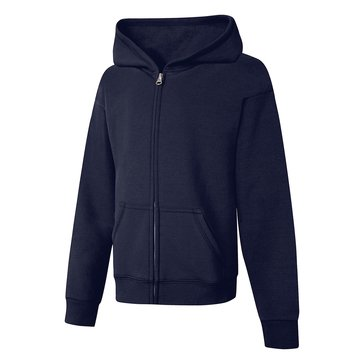 Hanes Big Girls' Fleece Zip Hoodie, Navy Large