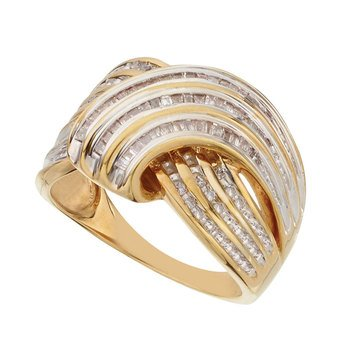 Diamond Ring 1/2 cttw, Sterling Silver & Gold Plated