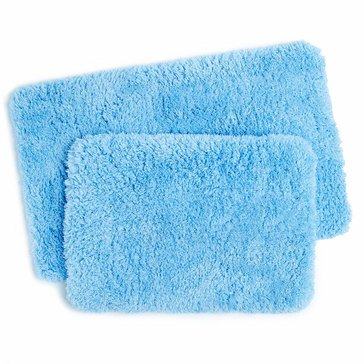 2-Piece Shag Memory Foam Bath Rug, Blue