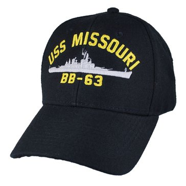 Eagle Crest Men's USS Missouri BB-63 Historic Carrier Hat With Flag