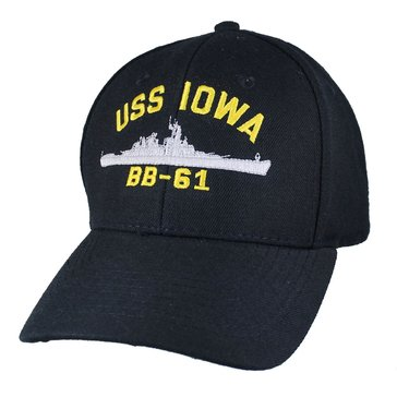 Eagle Crest Men's USS Iowa BB-61 Historic Carrier Hat With Flag