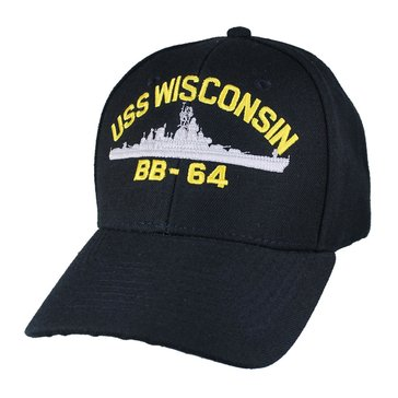 Eagle Crest Men's USS Wisconsin BB-64 Historic Carrier Cap With Flag