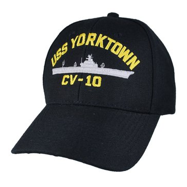 Eagle Crest Men's USS Yorktown CV-10 Decommissioned Carrier Hat With Flag