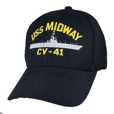 Eagle Crest Men's USS Midway CV-41 Decommissioned Carrier Cap With Flag