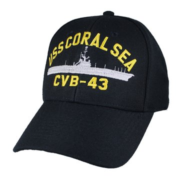 Eagle Crest Men's USS Coral Sea CVB-43 Decommissioned Carrier Cap With Flag
